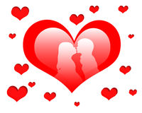 Red heart with kissing. On a white background Stock Photos