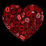 Red Heart Kissing Lips Mosaic on Black Background. Red Heart Filled With Kissing Lips Prints Mosaic on Black Background Stock Photos