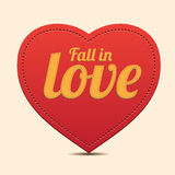 Red Heart label - Fall in love vector Stock Photos