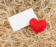 Red heart and label Stock Images