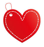 Red heart label. Red heart for sticker, label or tag stock illustration