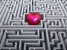 Red heart in the labyrinth maze Royalty Free Stock Photography
