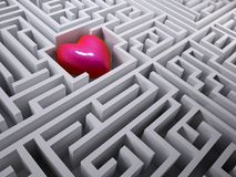 Red heart in the labyrinth maze Royalty Free Stock Image