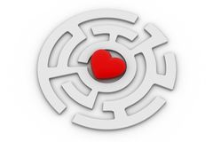 Red heart into labyrinth. In white background royalty free illustration