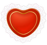 Red heart with lace. Vector red heart with lace Stock Images