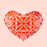 Red heart with lace ornament Stock Photo