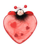 Red heart with ladybird for Valentine. Isolated over white stock photos