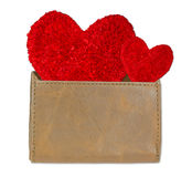 Red heart in leather wallet. Royalty Free Stock Images