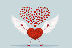 Red heart with legs and beautiful wings. Raise your hands up Stock Images
