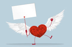 Red heart with legs and wings. Hands holding empty blank  page Stock Photography