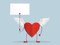 Red heart with legs and wings. Hands holding empty blanks pages Royalty Free Stock Photos
