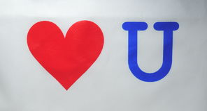 Red heart with the letter u. A red heart with the letter u Royalty Free Stock Photography