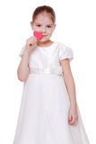 Red heart and little girl Stock Image