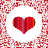 Red heart and little hearts around. Valentines Day background with many hearts on a white background Royalty Free Stock Photo