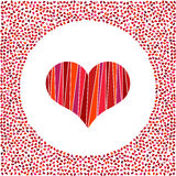 Red heart and little hearts around. Valentines Day background with many hearts on a white background Stock Photography