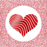 Red heart and little hearts around. Valentines Day background with many hearts on a white background Stock Images