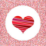 Red heart and little hearts around. Valentines Day background with many hearts  Royalty Free Stock Image
