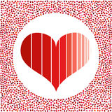 Red heart and little hearts around. Valentines Day background with many hearts  Stock Photography