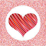 Red heart and little hearts around. Valentines Day background with many hearts Stock Image