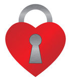 Red heart lock Stock Photo