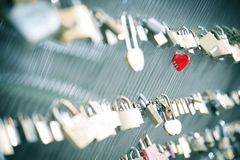 Red heart lock Stock Image