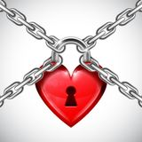 Red Heart Lock and Chains Royalty Free Stock Photo