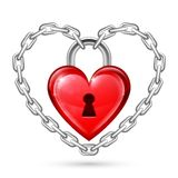 Red Heart Lock and Chains Stock Photo