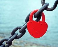 Red heart lock. A lock in red heart shape Royalty Free Stock Images