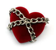 Red heart locked with chain Stock Photo