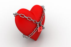 Red heart locked with chain. Love concept. Stock Photography