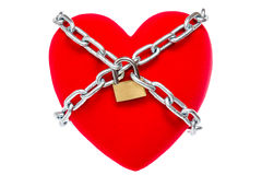 Red heart locked on padlock Royalty Free Stock Photography