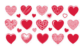 Red heart logo, label. Set icons or symbols on theme of love vector illustration