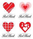 Red heart logo set Stock Image