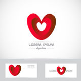 Red heart logo. Vector company logo icon element template red heart love shape Stock Photo