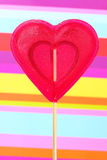 Red heart-lollipop Stock Image