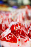 Red heart lollipop Stock Images