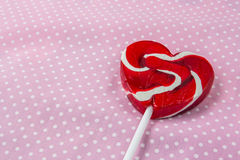 red heart-lollipop, concept love, valentine Royalty Free Stock Image