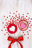 Red heart lollipops Royalty Free Stock Photos