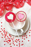 Red heart lollipops Royalty Free Stock Image