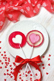 Red heart lollipops Stock Image