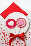 Red heart lollipops Stock Photography
