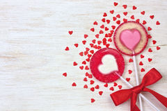 Red heart lollipops Stock Images