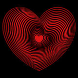 Red heart into the lot of heart shapes over black Royalty Free Stock Photo