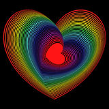 Red heart into the lot of spectrum color heart shapes Royalty Free Stock Images