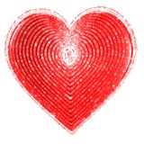 Red Heart of love. Red Heart, symbol of love, shape of papillary ridges.  Fingerprint like lines Stock Photo