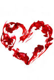 Red heart love. Red ink underwater heart isolated royalty free stock image