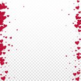 Red heart love confettis. Valentine`s day borders. Precious background. Falling stitched paper hearts confetti on transparent background. Decent vector vector illustration