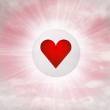 Red heart love in glossy bubble in the air with flare Royalty Free Stock Photos