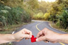 Heart for love route. Red heart for love route royalty free stock images