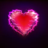 Red heart love symbol at lightning storm graphic design Stock Image